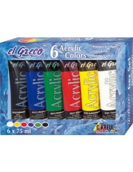 Acrílico EL GRECO 75ml Pack c/6 cores