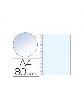 Bolsa catálogo multiperfurada Q- Connect A4 80 mic. Cristal