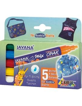 Marcador Javana Textil Opaco 2-4mm Pack c/5 cores